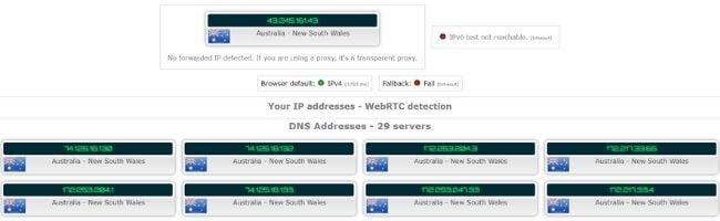 Test d'adresse IP avec Bitdefender VPN