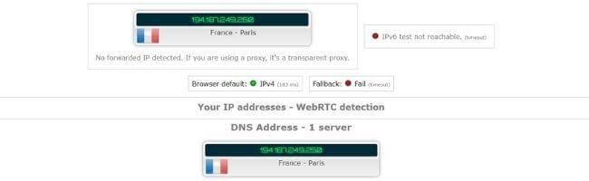 Test d'adresse IP avec Avira VPN