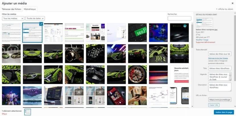 Ajout d'images avec WordPress