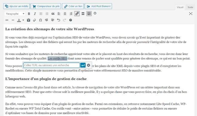 Ajout de liens avec WordPress