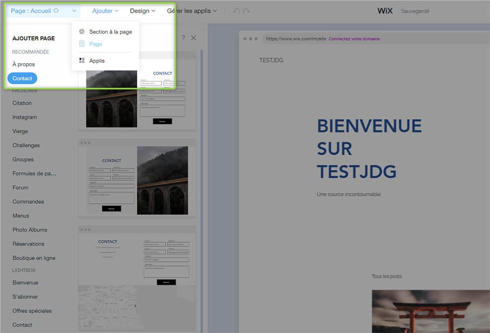 Ajout pages site Wix