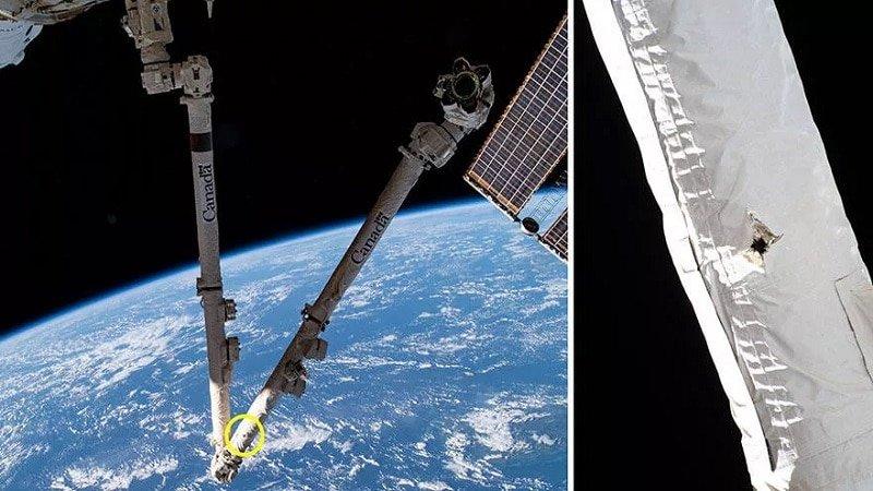 Impact de débris spatial sur l'ISS