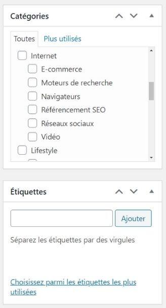 Catégories et tags avec WordPress