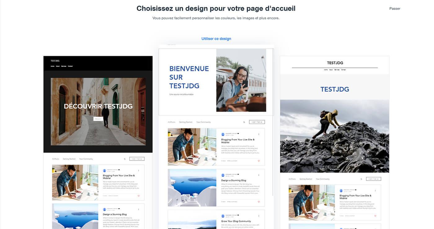 Choix design site Wix