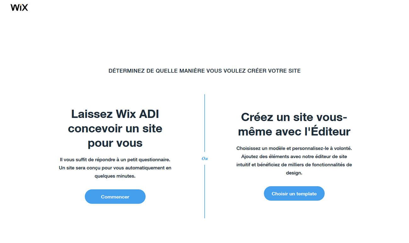 Choix méthode création site Internet Wix