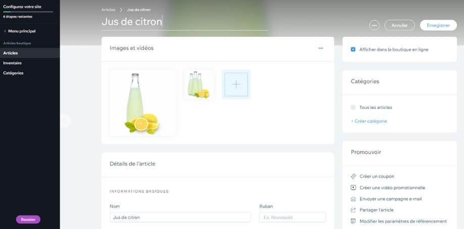 Création de fiche produit avec Wix