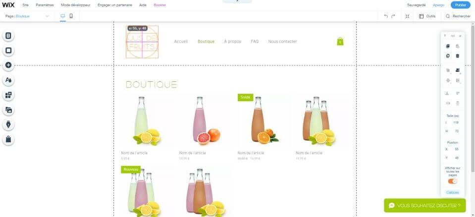 Éditeur boutique en ligne Wix