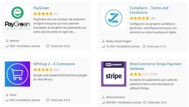 Exemples de plugins pour le e-commerce avec WordPress
