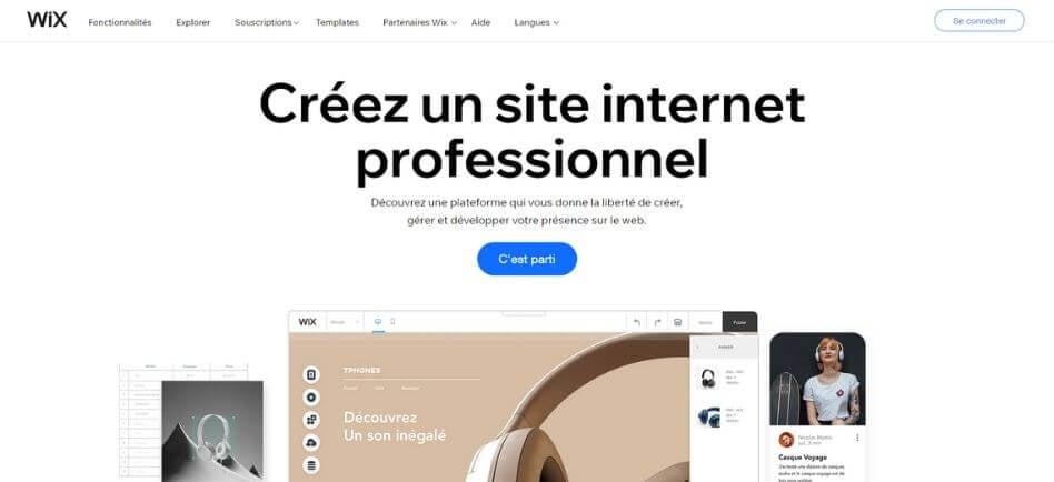 Page officielle Wix