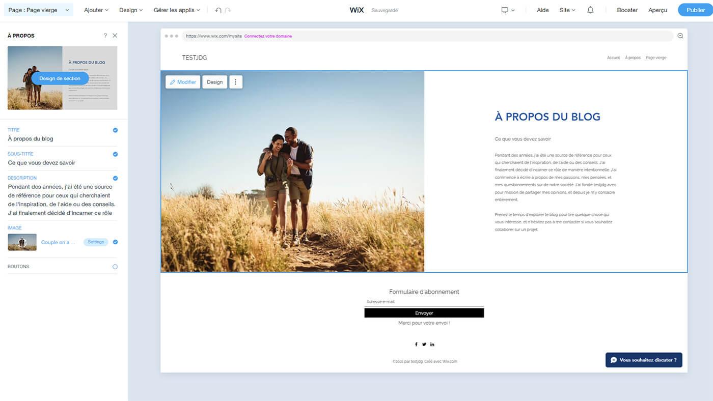 Personnalisation page site Internet Wix