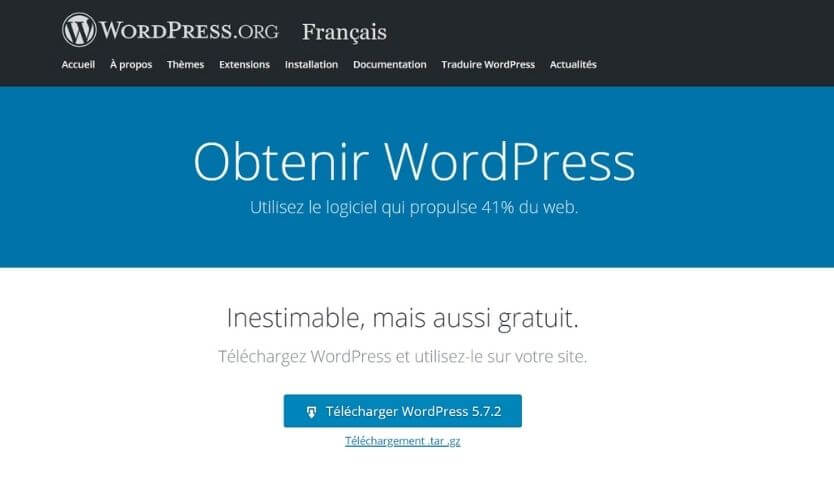 Téléchargement de WordPress