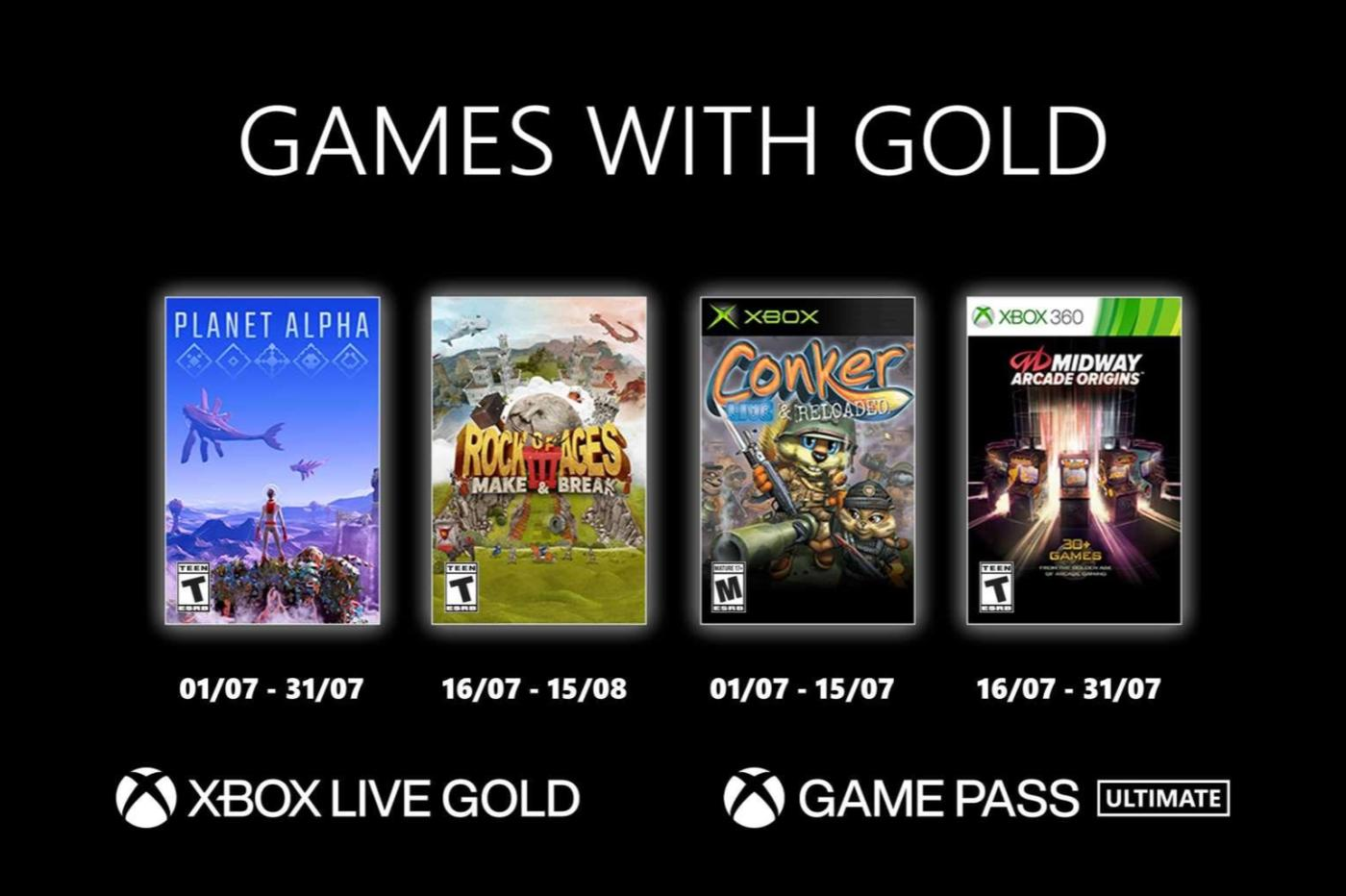 Xbox Live Gold Juillet