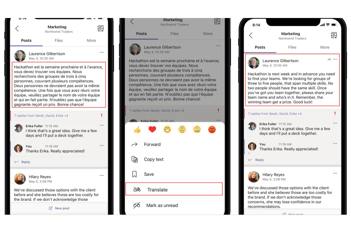 Microsoft Teams traduction sur Android