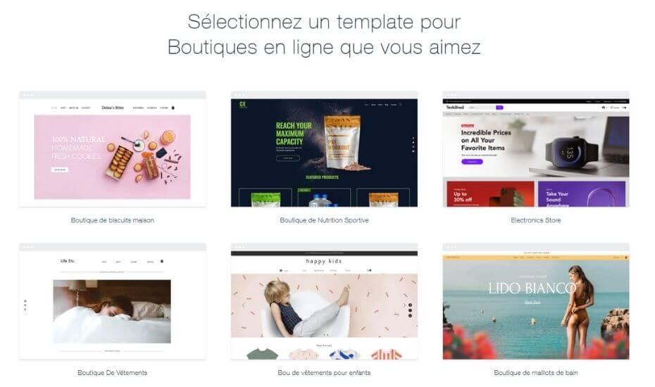 Templates pour boutiques en ligne Wix