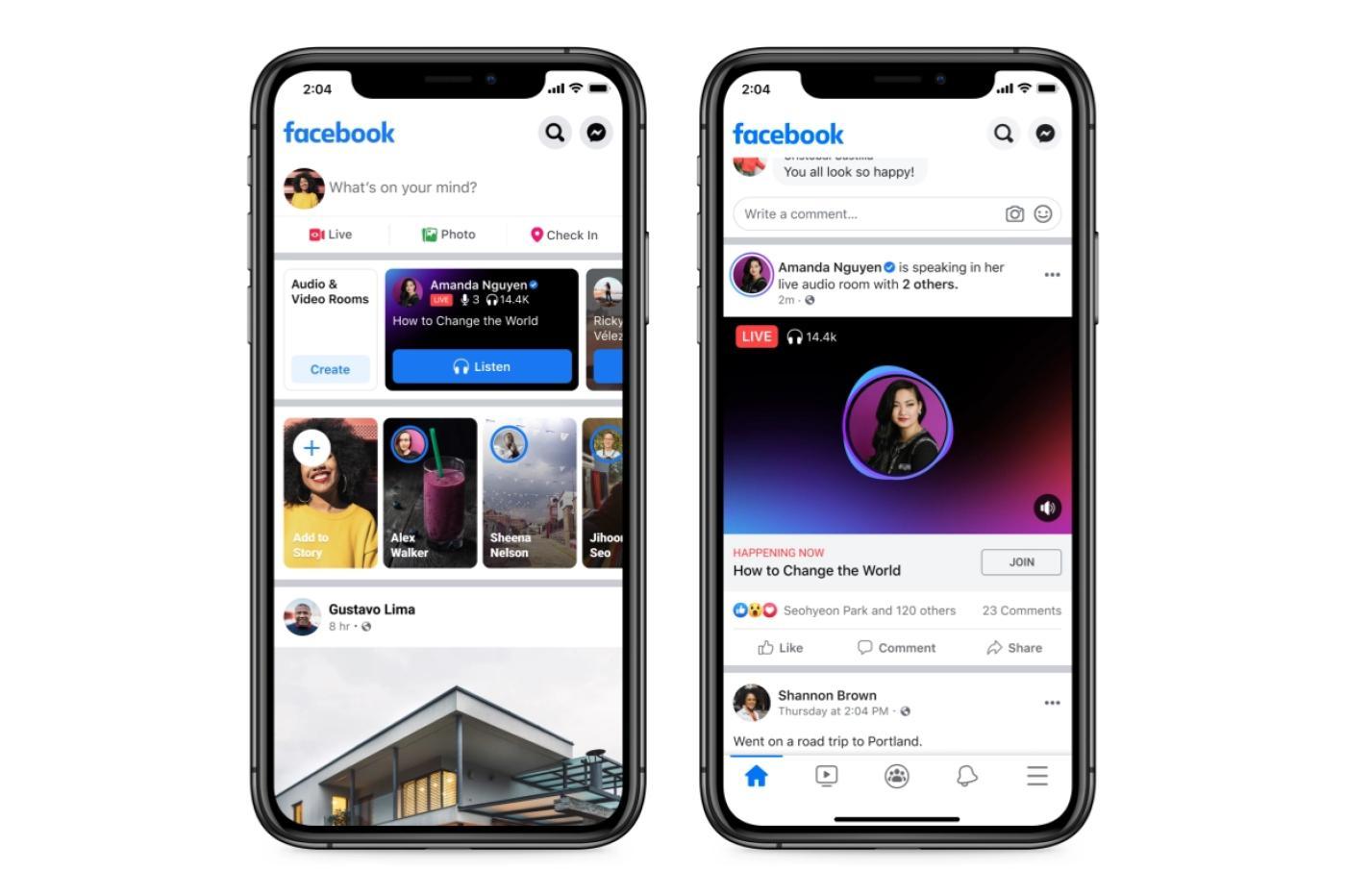 Facebook Live audio Rooms nouvelle interface